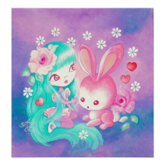 Pink Bunny Love Posters