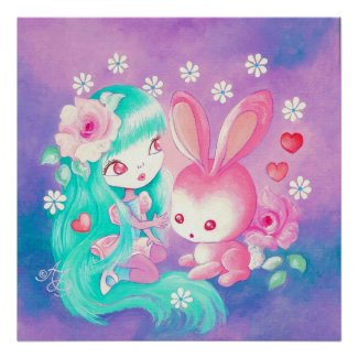 Pink Bunny Love Poster