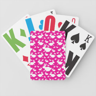Pink Bunny Pattern Bicycle Playing Cards