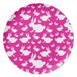 Pink Bunny Pattern Party Plates