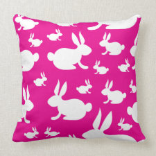 Pink Bunny Pattern Pillow