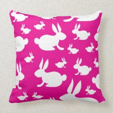 Pink Bunny Pattern Pillow