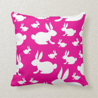 Pink Bunny Pattern Throw Pillow