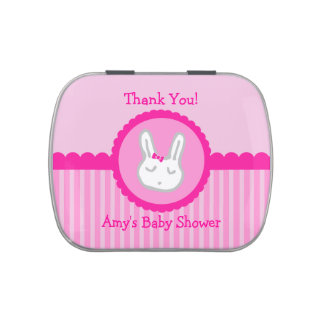 Pink Bunny Personalized Baby Shower Candy Favors Jelly Belly Tins