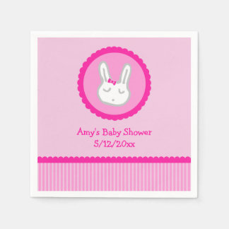 Pink Bunny Personalized Baby Shower Napkins Paper Napkins