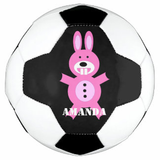 Pink bunny personalized soccer ball