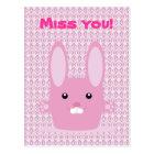 Pink bunny postcard