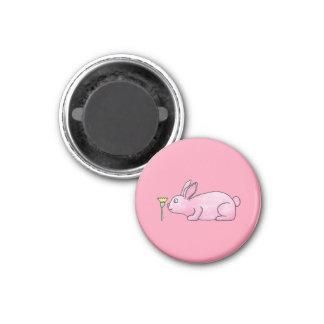 Pink Bunny Rabbit. 1 Inch Round Magnet