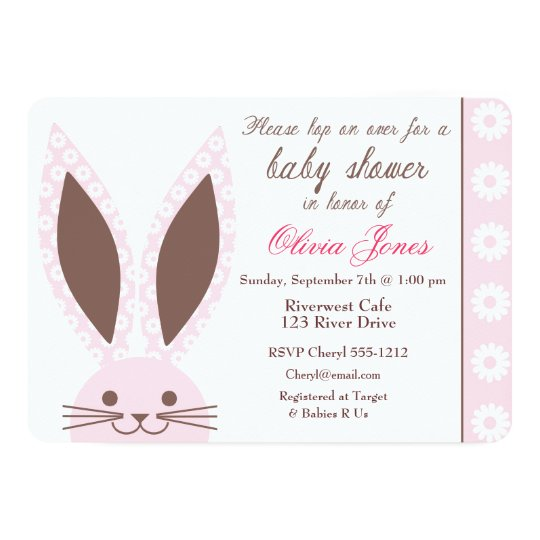 Pink Bunny Rabbit Baby Shower Invitation Custom