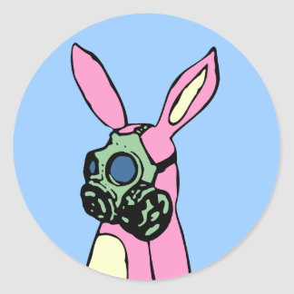 Pink Bunny Rabbit Gas Mask Classic Round Sticker