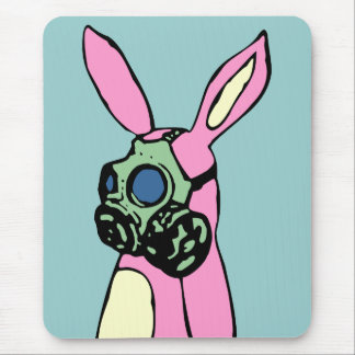 Pink Bunny Rabbit Gas Mask Mouse Pad