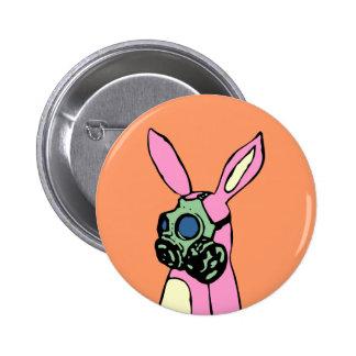 Pink Bunny Rabbit Gas Mask Pinback Button