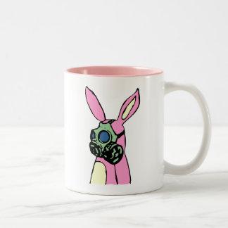 Pink Bunny Rabbit Gas Mask Two-Tone Coffee Mug