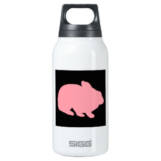 Pink Bunny Rabbit on Black Insulated Water Bottle