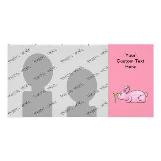 Pink Bunny Rabbit. Photo Card Template