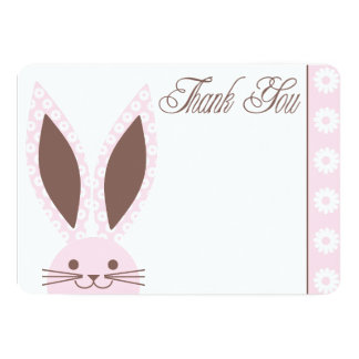 Pink Bunny Rabbit Thank you card