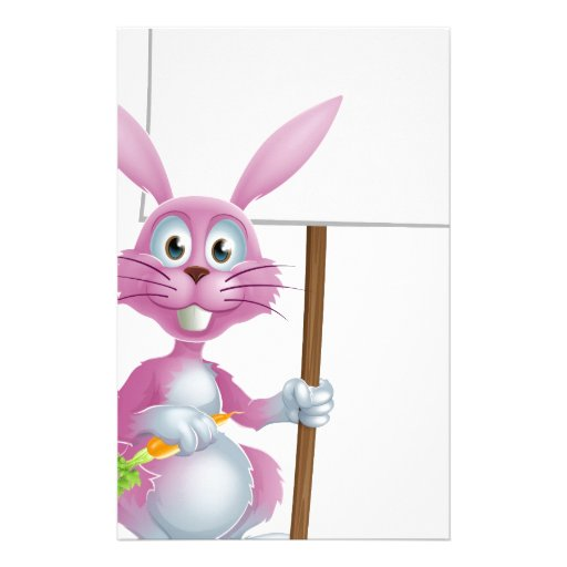 Pink bunny rabbit with carrot and sign stationery