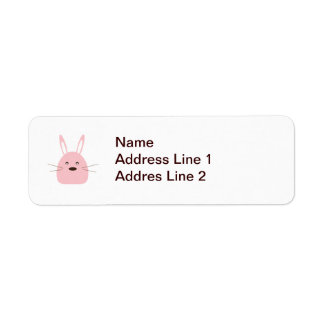 Pink Bunny Return Address Label