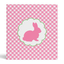 Pink Bunny Silhouette Binder