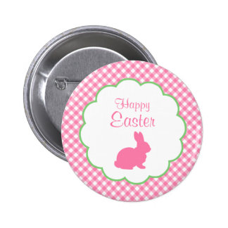 Pink Bunny Silhouette Pinback Buttons