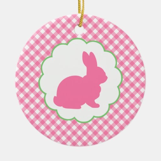 Pink Bunny Silhouette Christmas Ornament