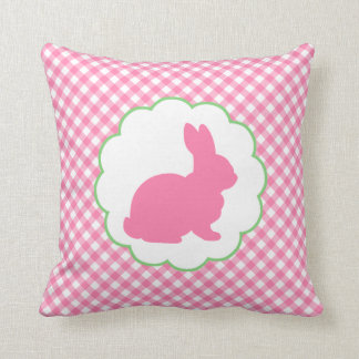 Pink Bunny Silhouette Pillow