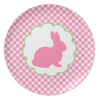 Pink Bunny Silhouette Dinner Plate