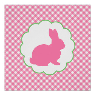 Pink Bunny Silhouette Print