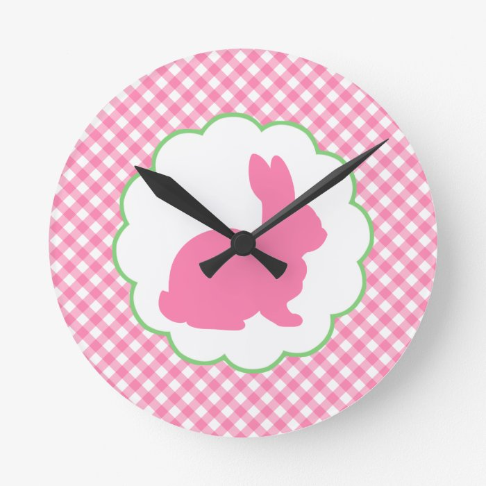 Pink Bunny Silhouette Round Clock