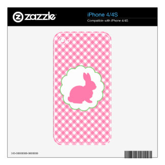 Pink Bunny Silhouette Skins For iPhone 4S
