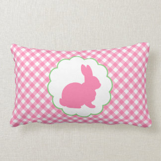 Pink Bunny Silhouette Throw Pillows
