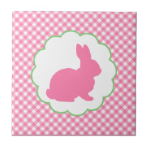 Pink Bunny Silhouette Tile