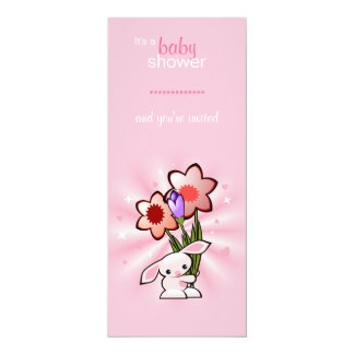 Pink Bunny with Flowers Baby Shower Card