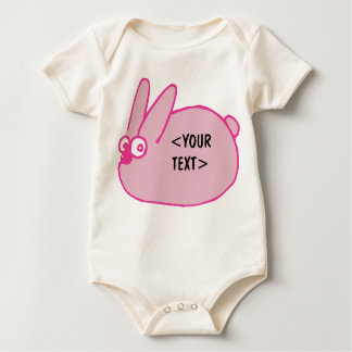 Pink Bunny, <YOUR TEXT> Baby Bodysuit