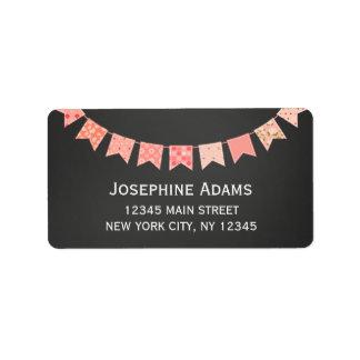 Pink Bunting Address Labels Chalkboard