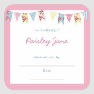 Pink Bunting Baby Shower book Bookplates