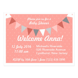Pink bunting Baby Shower Postcard