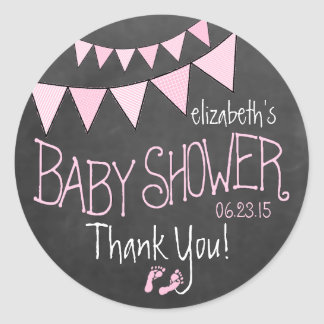 Pink Bunting Flags on Chalkboard Look Baby Shower Classic Round Sticker