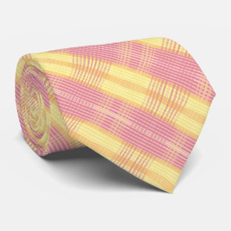 Pink Burgandy and Yellow Plaid Tie