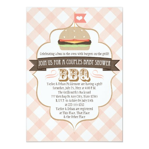 Pink Burger Couples BBQ Baby Shower Invitations