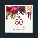 "Pink &amp; Burgundy Boho Floral 80th Birthday Party Napkin<br><div class=""desc"">Pink &amp; Burgundy Boho Floral 80th Birthday Party Napkin