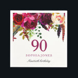 "Pink &amp; Burgundy Boho Floral 90th Birthday Party Napkin<br><div class=""desc"">Pink &amp; Burgundy Boho Floral 90th Birthday Party Napkin