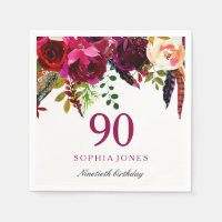 Pink & Burgundy Boho Floral 90th Birthday Party Napkin