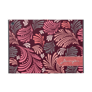 Pink Burgundy Coral Floral Folio Case Cover For iPad Mini