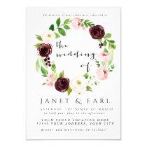 Pink Burgundy Floral Wedding Invitations