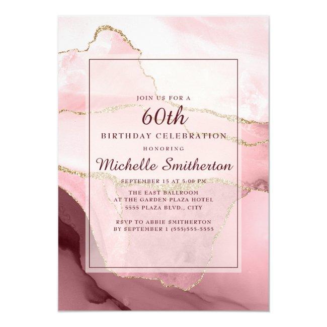 Pink Burgundy Gold Marble Agate 60th Birthday Invitation