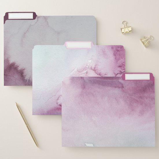 Pink Burgundy Gray Mint Watercolor Marble Design File Folder
