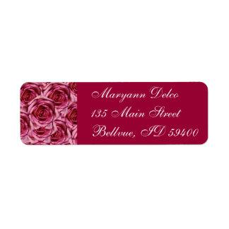 Pink Burgundy Roses Address Label