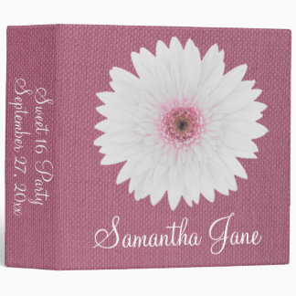 Pink Burlap and Daisy Personalized Memory Binder