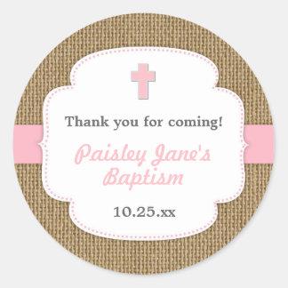 Pink Burlap cross girl baptism christening favor Classic Round Sticker